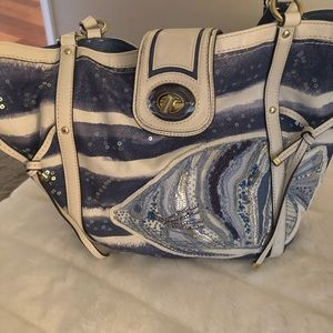 Coach sequin fish bag blue and white